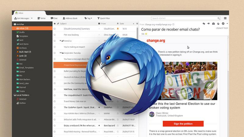 Interdace de Email do Thunderbird. Você também pode aprender a como parar de receber email indesejado nela