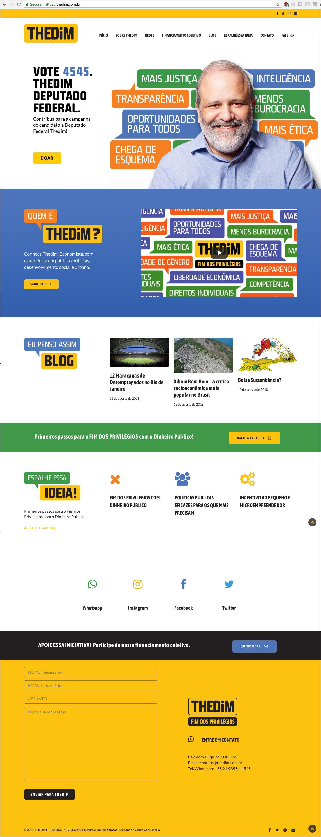 Thedim – Site pessoal e campanha eleitoral