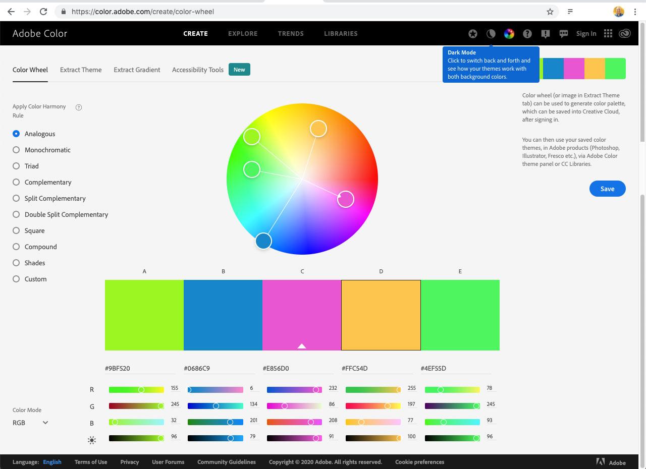 Adobe Color já foi chamado de Adobe Kuler no passado. É uma ferramenta que cria paletas de cor com muitas sugestões de combinações para os usuários.